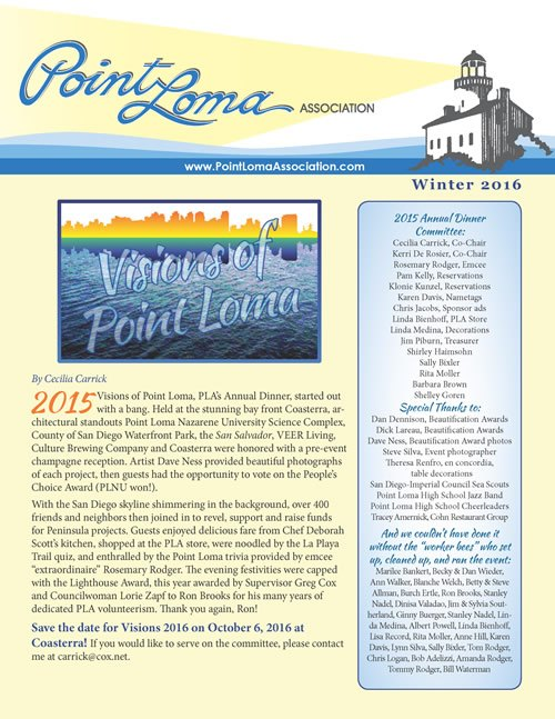 Point Loma Association Newsletter - editing and graphic design